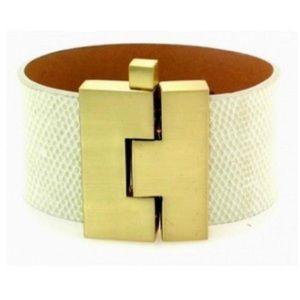 Leighelena Pearl White Gold Wide Jigsaw Cuff